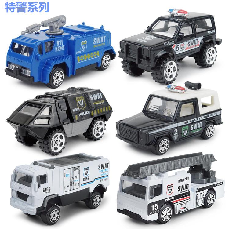 儿童迷你警车套装回力合金车模小汽车模型男孩玩具车玩具小车模