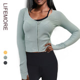Long-sleeved knit cardigan wild sports yoga exercise low collar shirt outside the ride sexy sports jacket female Spring and Autumn