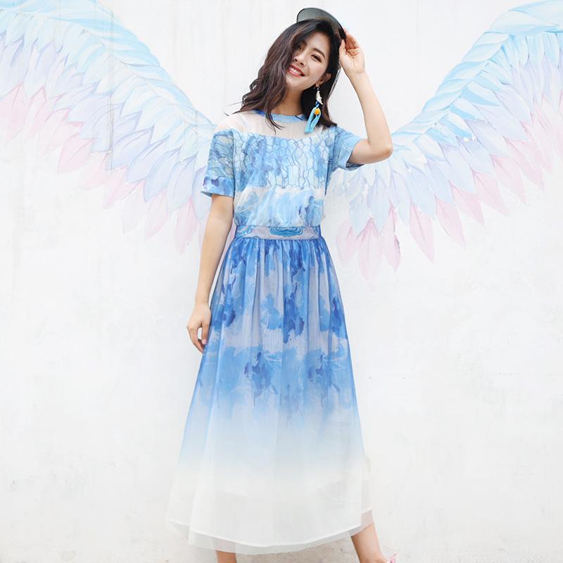 杨丽萍设计复古民族风印花拼接雪纺连衣裙短袖圆领网纱蕾丝长裙夏