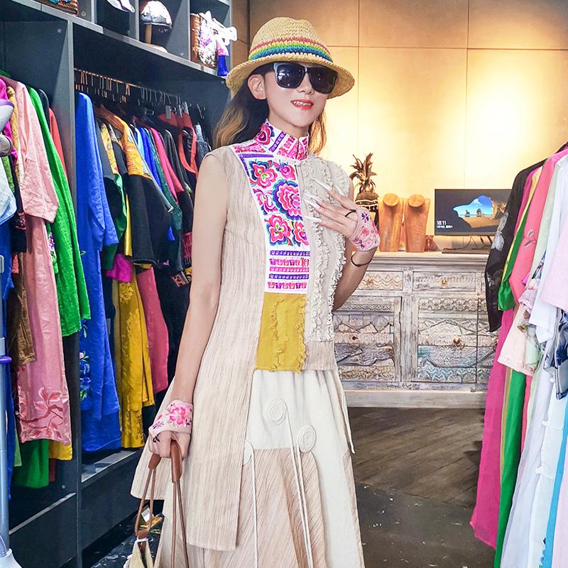 杨丽萍设计原创2020新款民族风复古绣花棉麻无袖刺绣上衣不规则女