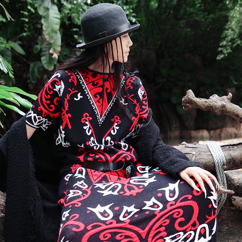 杨丽萍同款冬季新款女装原创复古民族风提花针织毛衣连衣裙女长裙
