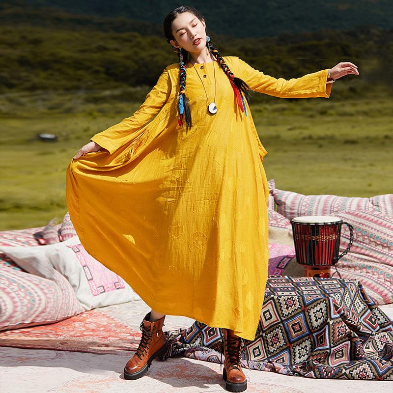 杨丽萍设计原创民族风简约刺绣大摆假两件百搭长袖连衣裙长裙秋