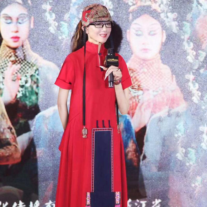 杨丽萍同款原创设计民族风刺绣连衣裙复古立领盘扣拼接短袖长裙女