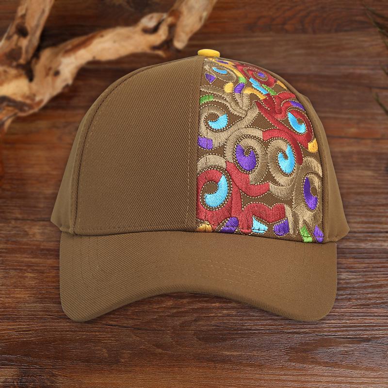 杨丽萍设计原创复古刺绣帽子民族风织带可调节遮阳防风鸭舌帽