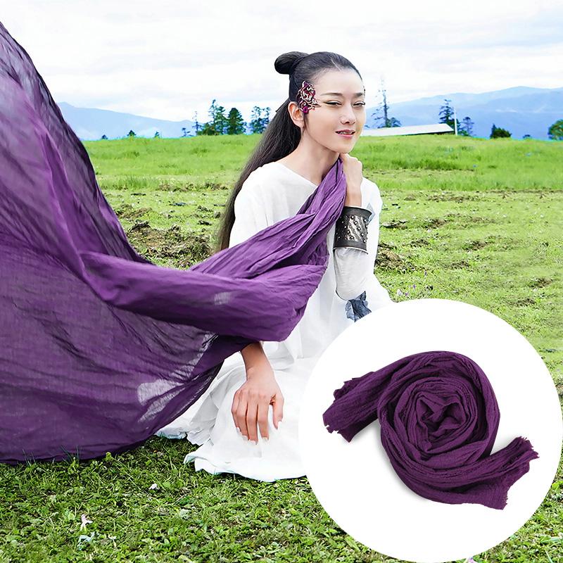 杨丽萍设计原创同款复古民族风纯棉夏季薄款长款做旧感毛边围巾