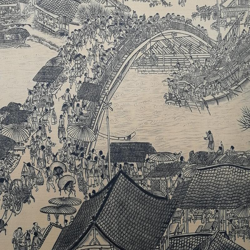 珍藏版国画清明上河图装饰画绢丝精致装裱卷轴全景全卷一件包邮