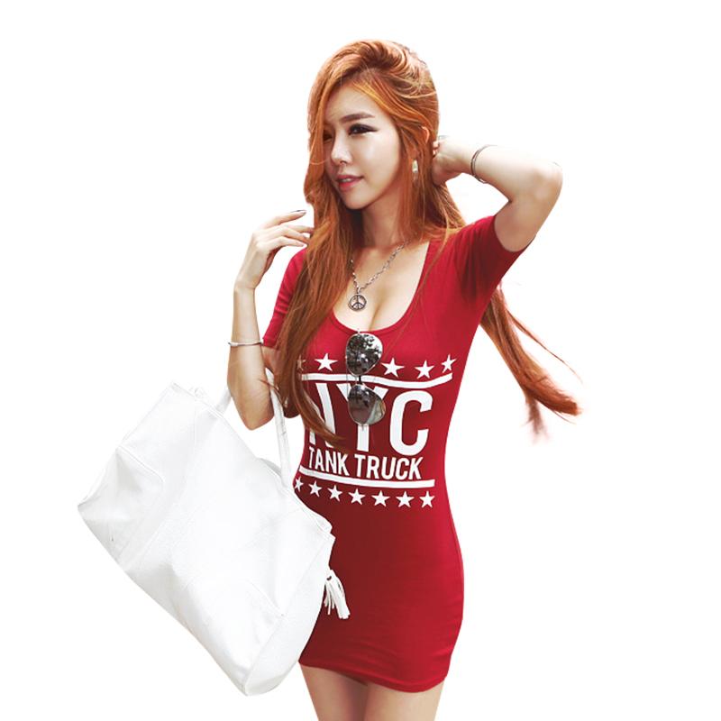 性感低胸短袖T恤短裙女装夏季紧身印花包臀连衣裙纯棉夜店打底衫
