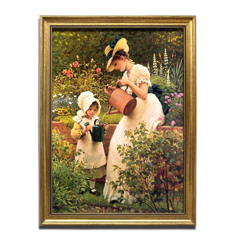 竖幅人物玄关装饰画 欧式温馨人物油画母女花园浇水有框画喷绘画