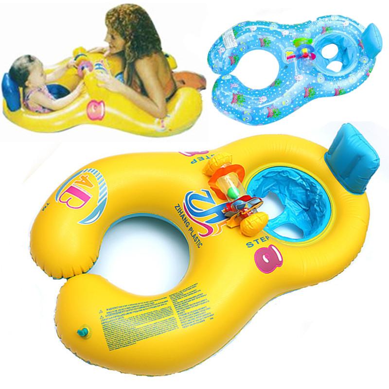 母子圈親子游泳圈寶寶腋下圈嬰幼兒遮陽坐圈雙人男女兒童救生浮圈