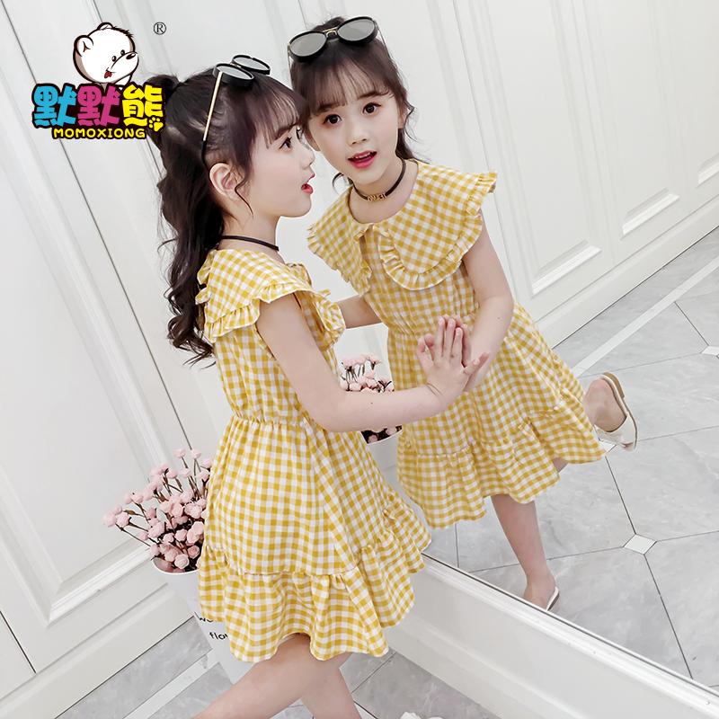 女童夏装连衣裙2019新款洋气童装中大儿童网红格子娃娃领公主裙子