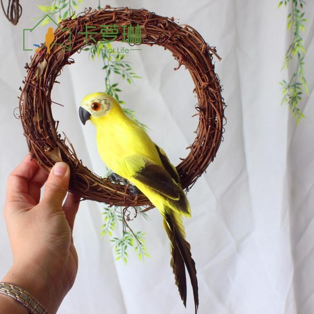 Caroline simulation feather parrot gardening with rattan ring paw wire binding home pastoral decoration macaw