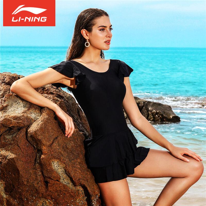 李宁泳衣女性感连体裙式大码遮肚显瘦沙滩裙 保守ins温泉连体泳衣