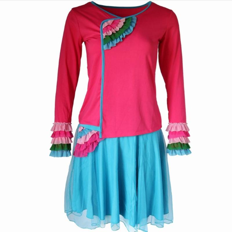 广场舞服装新款套装春夏季长短袖网纱裙阔腿裤中老年舞蹈表演服女