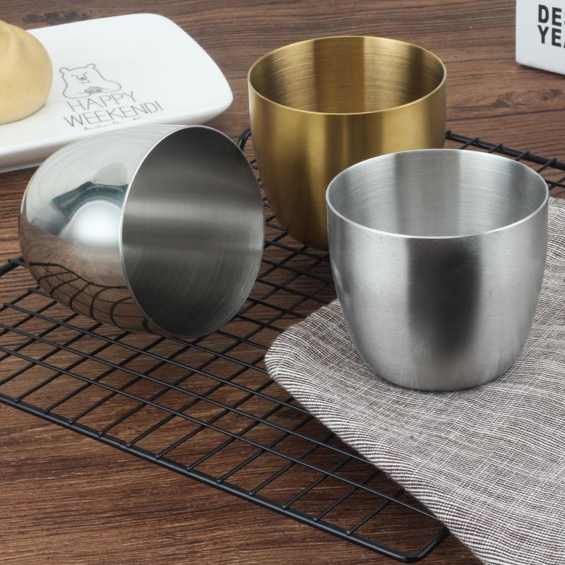 304不鏽鋼加厚韓式單層杯餐廳啤酒盃拉絲咖啡杯冷飲杯果汁杯水杯