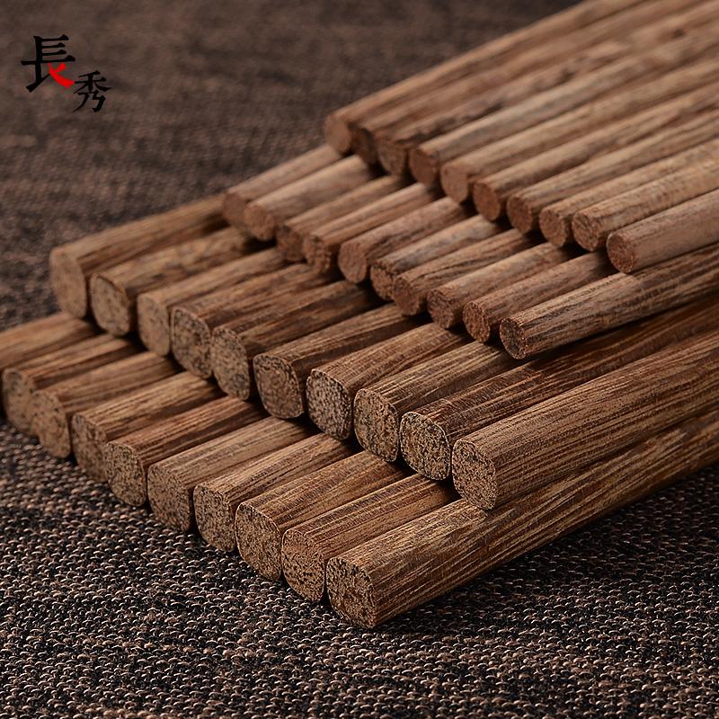 無漆無蠟雞翅木原木質制筷子切山頂天然硬實木筷子10雙禮盒裝家用