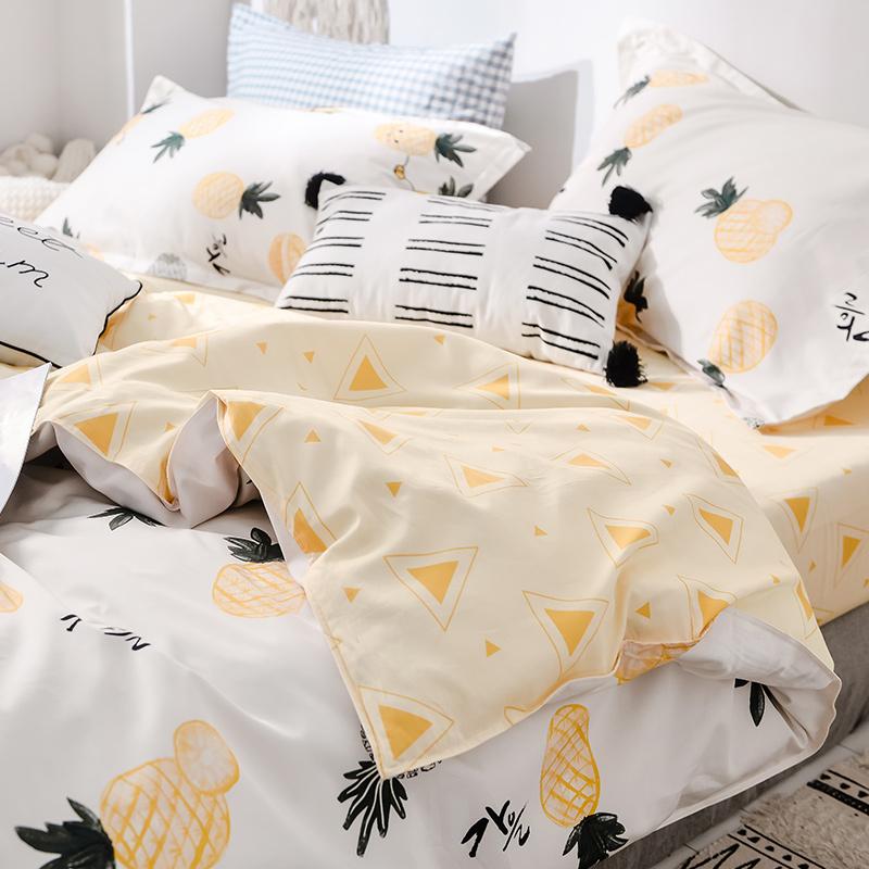 谷蝶网红ins纯棉四件套1.5米1.8m床上用品全棉简约水果床品三件套