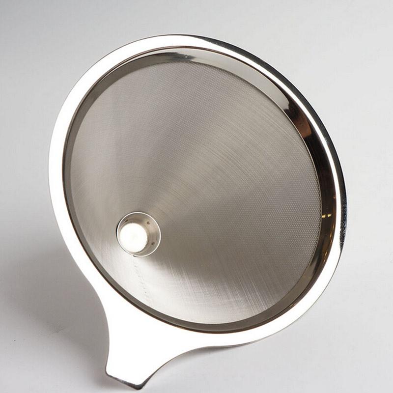 咖啡過濾網 不鏽鋼手衝咖啡壺免濾紙過濾網 滴漏式咖啡漏斗過濾杯