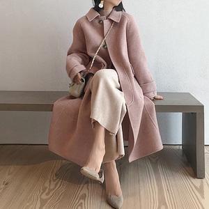 粉色毛呢大衣女中长款2019秋冬新款流行过膝长款赫本呢子外套加厚