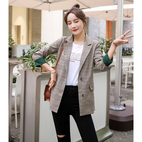 Casual Plaid Suit Jacket Female Korean Version Of The British Style 2020 Spring And The New Network Of Small Streets Fried Red Suit Jacket Summer