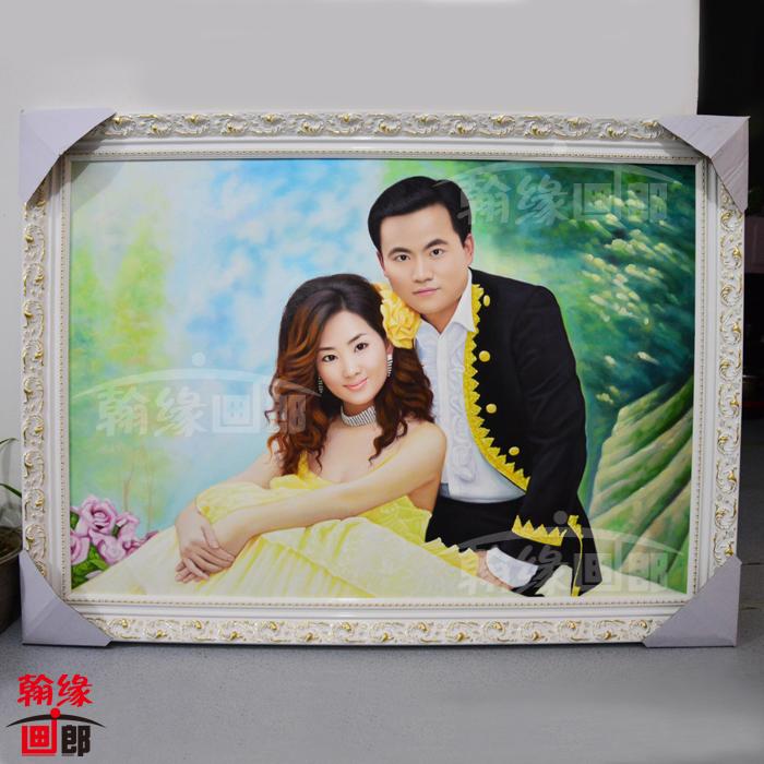 纯手绘肖像油画定制 人物肖像画生活婚纱照转油画像 传统手工订制