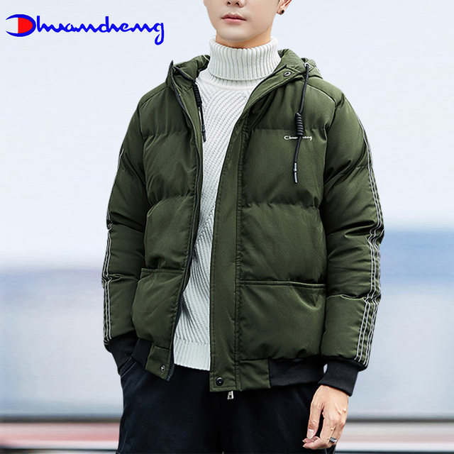 Ouchhang champion down padded jacket men's short stand-up collar padded winter jacket 2020 new warm fashion jacket men