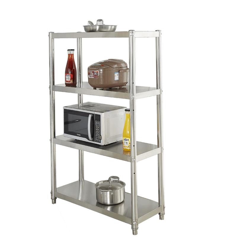 4层厨房置物架不锈钢收纳微波炉烤箱四层锅架落地式多层储物架子5
