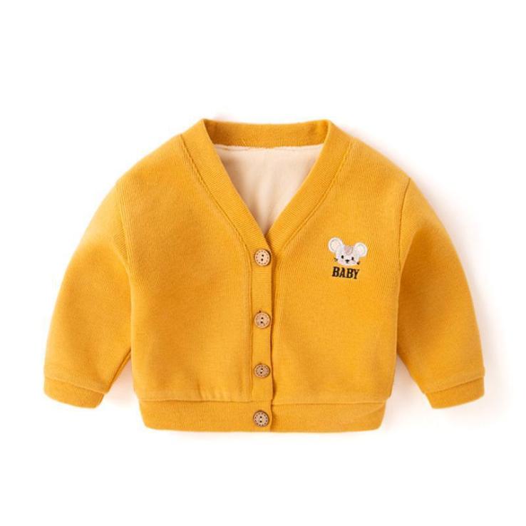 宝宝外套秋冬2020新款儿童加绒针织开衫男潮洋气婴儿衣服女童冬装