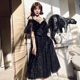 黑色晚礼服女2020新款小个子生日连衣裙赫本风中长款气场女王显瘦