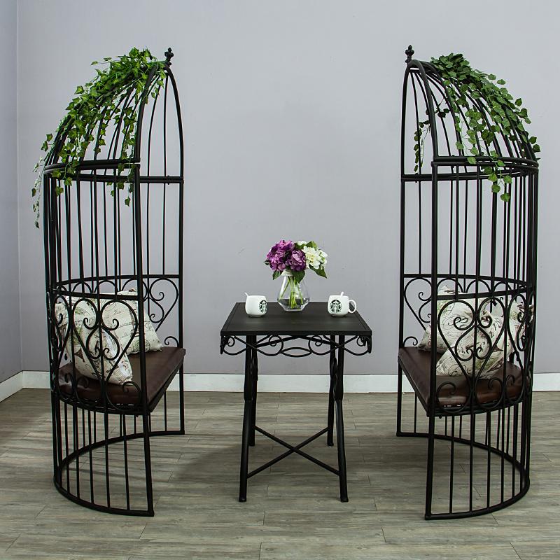 餐厅休闲创意单双人沙发椅卡座咖啡厅酒吧铁艺半圆鸟笼落地式座椅