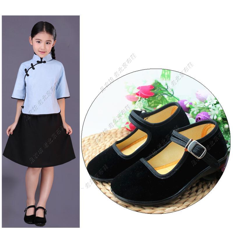 儿童舞蹈鞋女演出鞋老北京布鞋女童黑布鞋秧歌舞蹈鞋女童绒布鞋