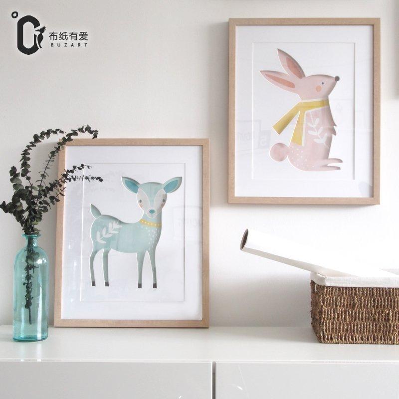 童趣CP 北歐兒童房裝飾畫現代簡約臥室床頭掛畫溫馨動物創意個性