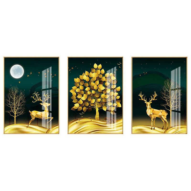 客廳裝飾畫招財風水三聯畫壁畫現代輕奢風大氣沙發背景墻晶瓷掛畫
