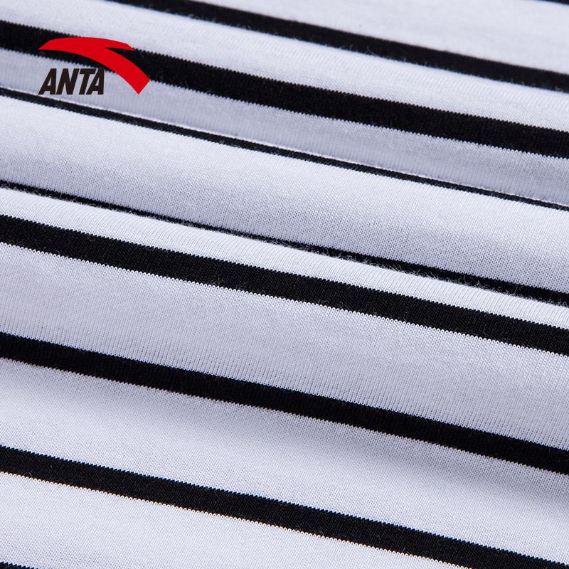 安踏女短袖2018夏季新款圆领条纹短t恤针织吸汗短袖上衣16827159