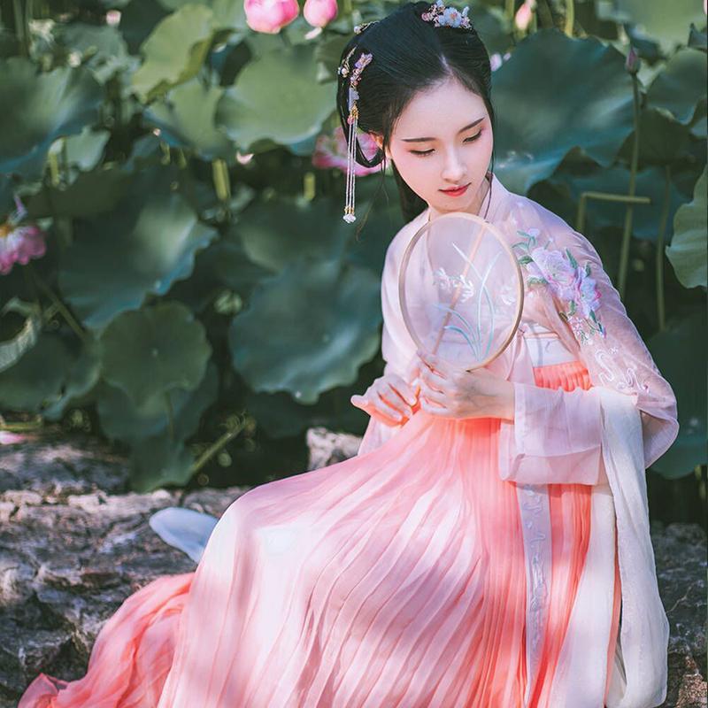 花怜语学生上宫齐胸襦裙改良服樱花汉服超仙古装仙女飘逸清新淡雅