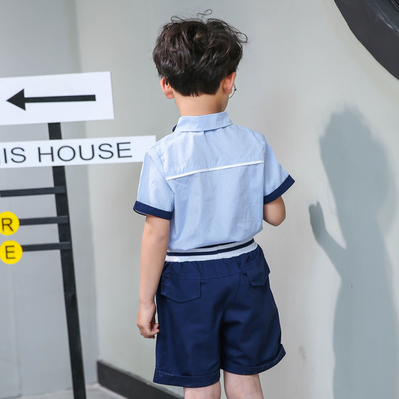 幼儿园园服夏装中小学生儿童校服短袖套装学院风班服男女童演出服