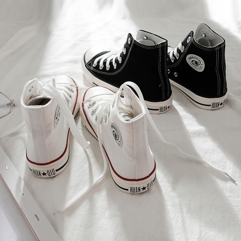 环球帆布鞋女夏季薄款2021年新款女鞋学生布鞋白色球鞋高帮板鞋