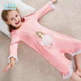 Lingerie girls fall and winter long section long-sleeved cotton baby girl princess wind big boy children's pajamas Spring Siamese