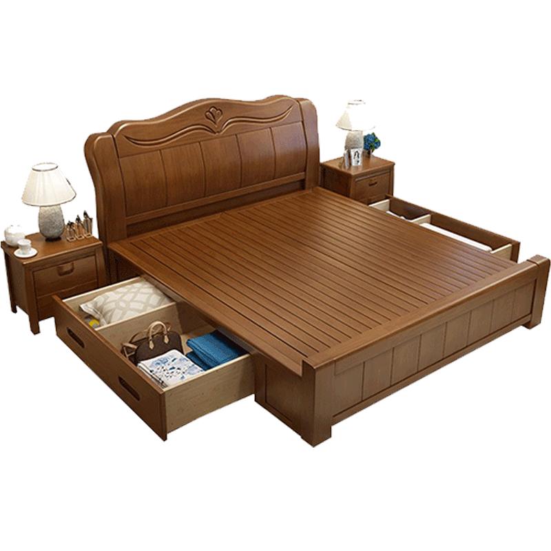 实木床现代简约主卧1.8米双人床2米2.2米大床中式1.5箱体储物婚床