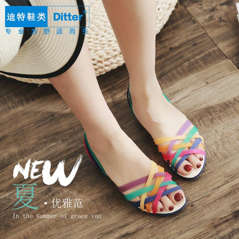 夏季洞洞鞋女凉鞋编织罗马凉鞋沙滩鞋平底百搭花园鞋七彩防滑凉鞋