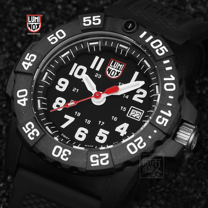 瑞士军表男雷美诺时luminox黑武士3501户外健身防水夜光氚气手表