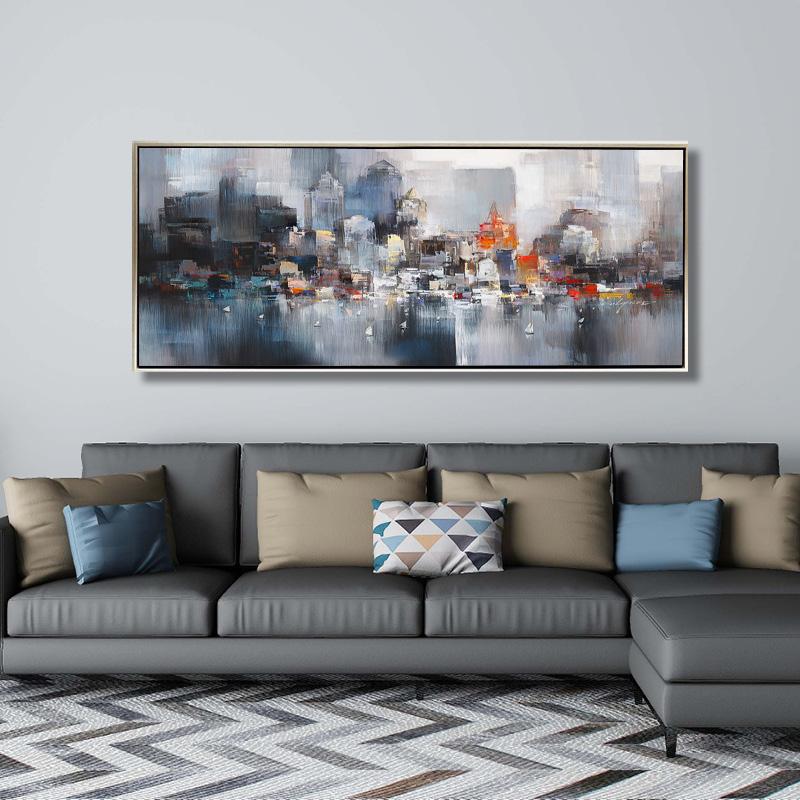 印象城市 纯手绘油画 现代简约抽象北欧客厅挂画大尺寸轻奢装饰画