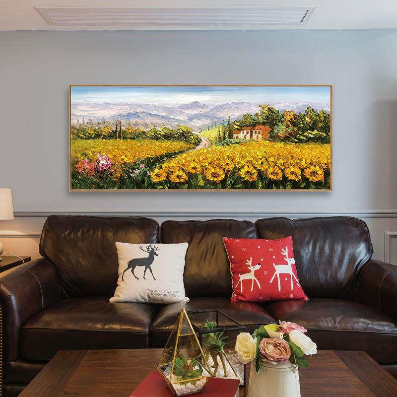手繪油畫 普羅旺斯的向日葵 現代美式花卉大幅橫版風景畫客廳臥室
