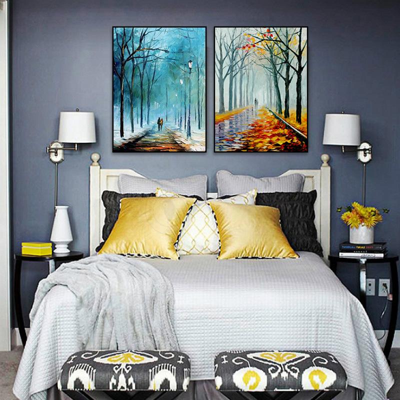 一路同行 厚油刀画现代北欧双联组合手绘油画 客厅画 夜景刀画