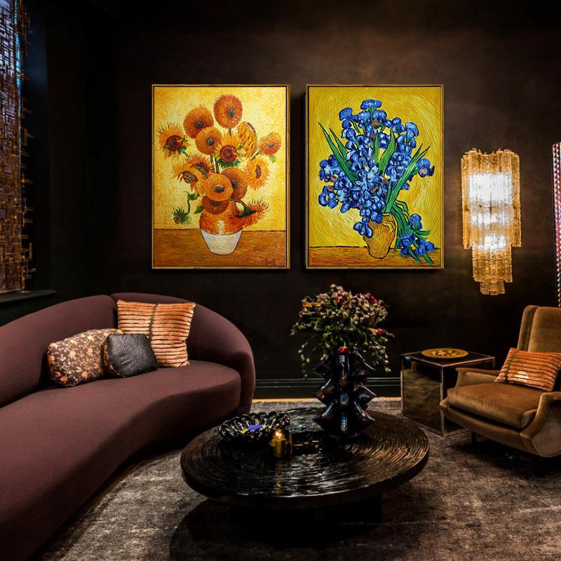 手繪油畫梵高向日葵三聯客廳掛畫臥室餐廳壁畫歐式花卉手工裝飾畫