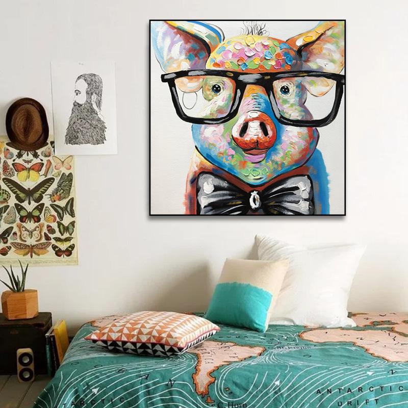 創意豬個性鹿卡通兔子 眼睛豬流氓兔厚油刀畫純手繪油畫兒童房畫