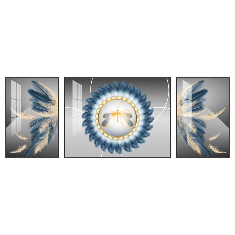 客厅沙发背景墙装饰画现代简约三联画挂画抽象轻奢晶瓷画大气壁画