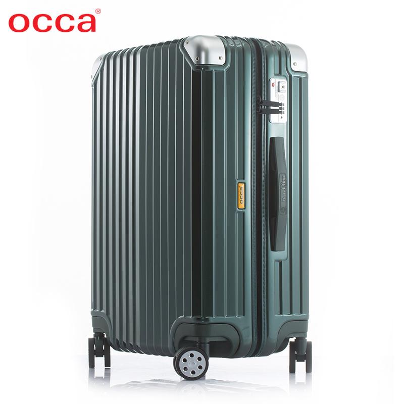 OCCA純PC拉鍊箱萬向輪 女旅行箱男行李箱登機箱韓版時尚拉桿箱