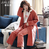 Padded cotton flannel pajamas ladies autumn and winter home service nightgowns warm coral velvet thickening plus velvet long suit