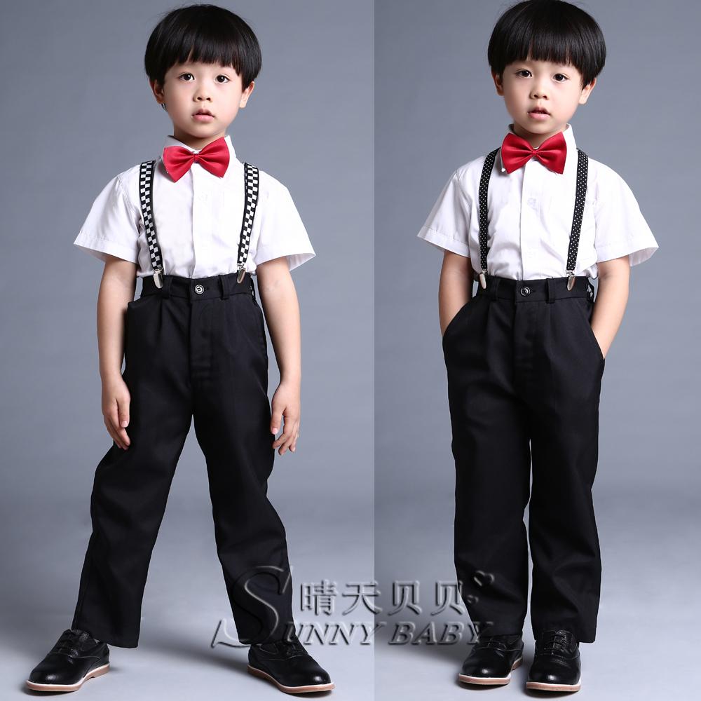 男童表演套裝兒童揹帶西褲短袖白色襯衫西裝黑色長褲蝴蝶領結花童