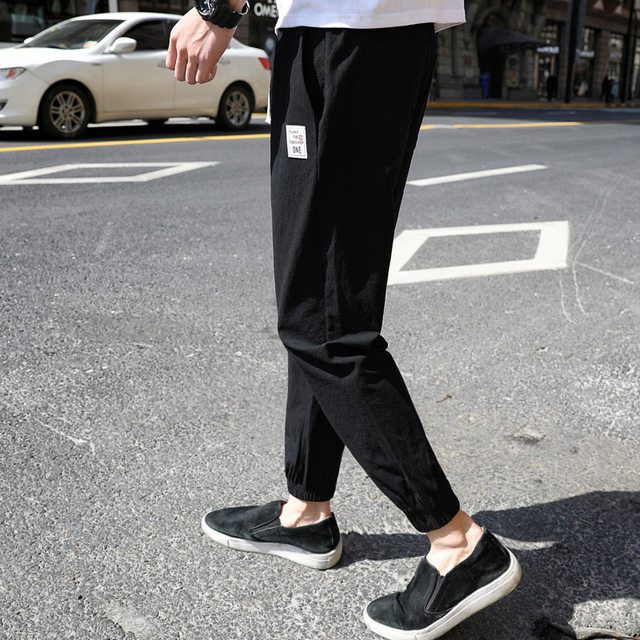 Casual pants summer tie feet nine points men's loose sports trousers overalls autumn pants men's Korean style trend wild